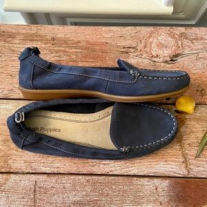 Hush Puppies blue suede drawstring moc toe loafers